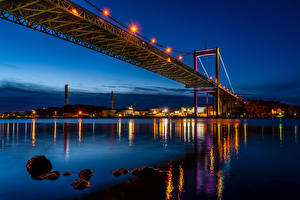 Hintergrundbilder Schweden Flusse Brücken Gebäude Nacht Straßenlaterne Gothenburg Städte
