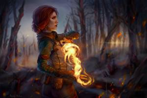 Wallpapers The Witcher 3: Wild Hunt Fire Magic Mage wizard Fanart Redhead girl Hands Triss Merigold Fantasy Girls