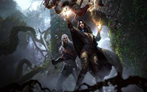 Photo The Witcher 3: Wild Hunt Geralt of Rivia Sorcery Mage wizard Swords Yennefer Fantasy Girls