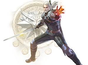 Bilder The Witcher Geralt von Rivia Magie Fan ART Schwert Weißer hintergrund SoulCalibur VI Spiele Fantasy