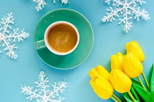 Image Tulips Coffee Cup Snowflakes Flowers
