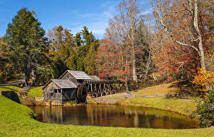 Hintergrundbilder USA Herbst Flusse Bäume Wassermühle Mabry Mill
