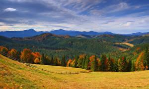 Fotos Ukraine Gebirge Wälder Herbst Grünland Landschaftsfotografie Transkarpatien