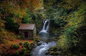Fotos Vereinigtes Königreich Herbst Wasserfall Wälder Haus Rydal Cumbria Natur