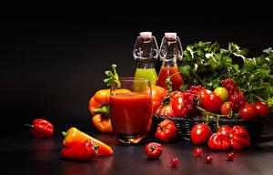 Bilder Gemüse Tomaten Paprika Fruchtsaft Meertrübeli Trinkglas Lebensmittel
