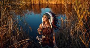 Fotos Warbonnet Traumfänger Indianer Schön Sergey Sorokin Mädchens
