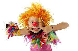 Fotos Weißer hintergrund Junge Uniform Clown Zunge Hand Kinder