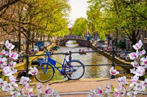Image Amsterdam Netherlands Bicycle Canal Cities