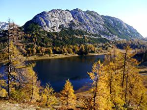 Hintergrundbilder Österreich Herbst Gebirge See Bäume Tauplitz Styria Natur