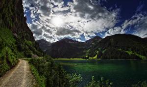 Fotos Österreich See Gebirge Wälder Straße Himmel Wolke Reutte District Tyrol Natur
