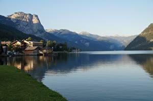 Hintergrundbilder Österreich Sommer Gebirge See Alpen Felsen Grundlsee Natur