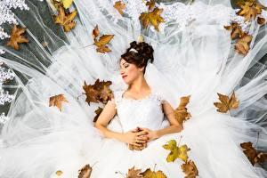 Fonds d'écran Automne Feuillage Jeune mariée Mariage Les robes Aux cheveux bruns Filles