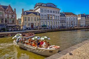 Bilder Belgien Gent Boot Haus Regenschirm Städte