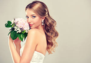 Desktop wallpapers Bouquet Gray background Brown haired Bride Staring Earrings Beautiful Girls