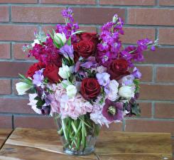 Fotos Sträuße Rosen Hortensien Levkojen