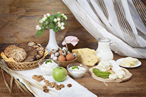 Picture Bread Cheese Apples Quark curd cottage farmer cheese Milk Nuts Breakfast Vase Egg Jug container Food
