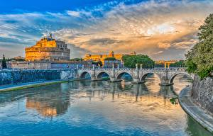 Images Bridge Rome Italy River Canal Ponte Sant'Angelo Cities