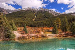 Bilder Kanada Herbst Park Gebirge See Wälder Banff