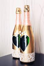 Hintergrundbilder Schaumwein Flasche Zwei Hochzeiten Herz Lebensmittel