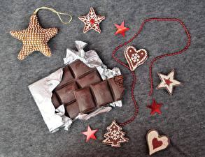 Bakgrunnsbilder Sjokolade Sjokoladeplate Små stjerner Hjerte