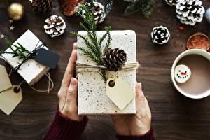 Fotos Neujahr Großansicht Hand Geschenke Zapfen