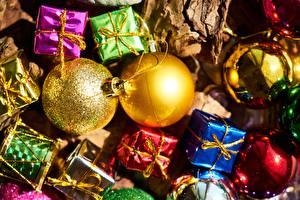 Bilder Neujahr Feiertage Hautnah Geschenke Kugeln