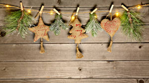 Wallpaper Christmas Boards Branches Star decoration Heart Fairy lights Clothespin