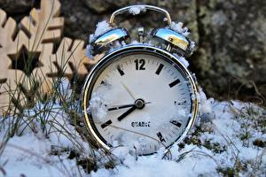 Wallpaper Clock Clock face Winter Closeup Snow