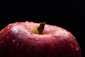 Pictures Closeup Apples Macro Black background Drops Food