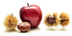 Hintergrundbilder Großansicht Obst Äpfel Kastanien Weißer hintergrund Lebensmittel