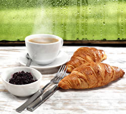 Images Coffee Croissant Powidl Cup Fork