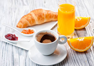 Pictures Coffee Juice Orange fruit Croissant Fruit preserves Wood planks Breakfast Cup Highball glass