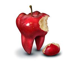 Hintergrundbilder Kreativ Äpfel Weißer hintergrund Rot Zähne Lebensmittel