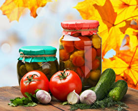 Pictures Cucumbers Tomatoes Garlic Autumn Dill Jar Food