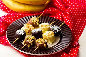 Photo Dessert Bananas Chocolate Plate