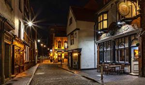 Bilder England Haus Straße Stadtstraße Nacht Straßenlaterne Kingston upon Hull City Städte