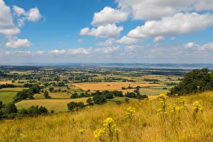 Photo England Scenery Autumn Fields Grass Gloucestershire Nature