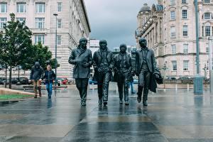 Wallpaper England Sculptures The Beatles Monuments Liverpool