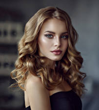 Images Curly Face Hair Glance Beautiful Dark Blonde Young woman