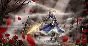 Fotos Fate: Stay Night Krieger Schwert Kleid Blond Mädchen Rüstung Mädchens