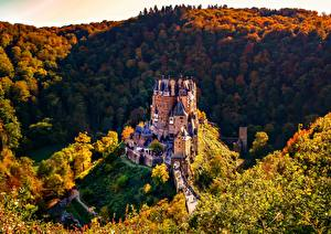 Picture Forests Autumn Mountain Castles Germany Burg Eltz Nature