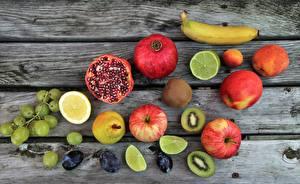 Picture Fruit Pomegranate Apples Grapes Lemons Bananas