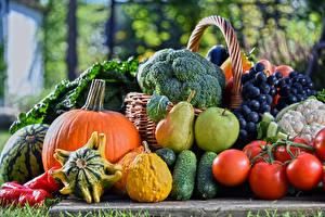 Hintergrundbilder Obst Gemüse Tomate Gurke Kürbisse Weintraube Äpfel Birnen