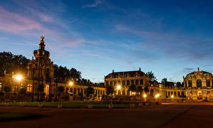Pictures Germany Dresden Houses Evening Palace Design Night time Street lights Zwinger Cities