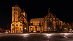 Wallpapers Germany Houses Temple Church Night time Street lights Town square Muenster Cities