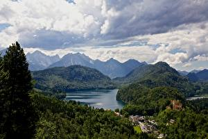 Pictures Germany Lake Mountains Forests Castle Alps Bavaria Clouds Nature