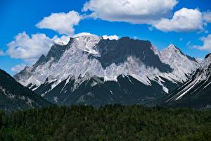 Image Germany Mountains Forest Landscape photography Alps Clouds Zugspitze Nature