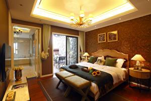 Wallpaper Interior Design Bedroom Bed Lamp Chandelier