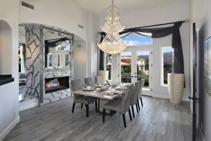 Bilder Innenarchitektur Design Wohnzimmer Cheminée Tisch Stühle Kronleuchter