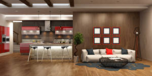 Photo Interior Design Lounge sitting room Couch Kitchen 3D Graphics